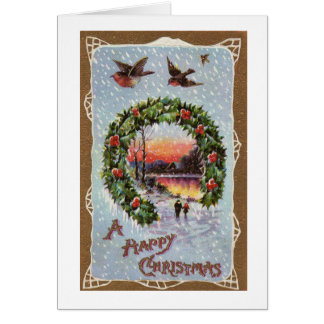 Vintage Romantic Christmas Scene with Robins Card
