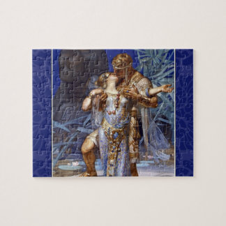 Vintage Romantic Couple Anthony and Cleopatra Kiss Jigsaw Puzzles