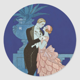 "Vintage Romantic Couple ~ ""Oui"" Classic Round Sticker"