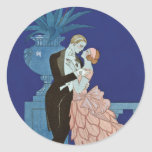 "Vintage Romantic Couple ~ ""Oui"" Round Sticker"