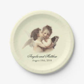 Vintage Romantic First Kiss 7 Inch Paper Plate