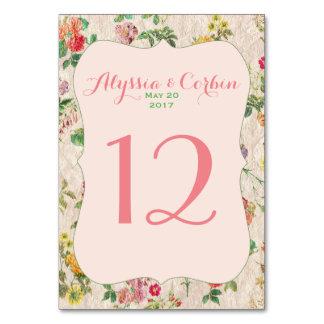 Vintage Romantic Floral Pink Wedding Table Numbers