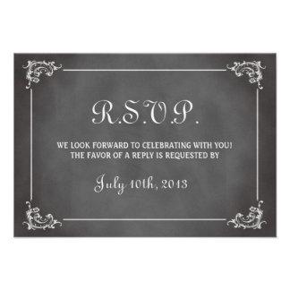 Vintage romantic gray chalkboard wedding response invite