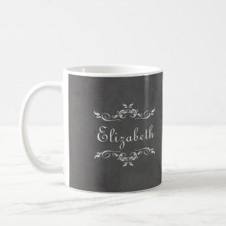 Vintage romantic gray faux chalkboard bridesmaid basic white mug
