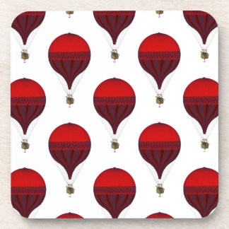 Vintage Romantic Hot Air Balloons in Red and Blue Beverage Coasters