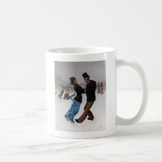 Vintage Romantic Ice Skaters Basic White Mug