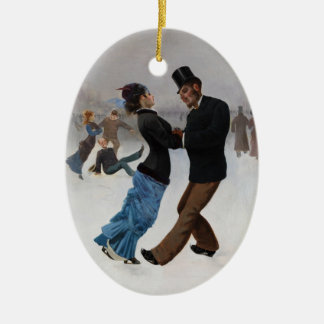 Vintage Romantic Ice Skaters Christmas Ornament