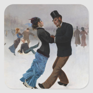 Vintage Romantic Ice Skaters Square Stickers