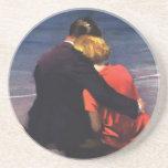 Vintage Romantic Love, Romance on the Beach Drink Coaster