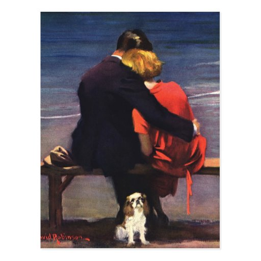 Vintage Romantic Love, Romance on the Beach Postcard
