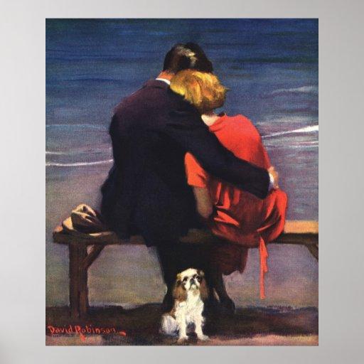 Vintage Romantic Love, Romance on the Beach Print