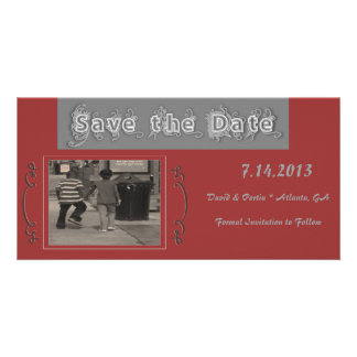 Vintage Romantic Love Save The Date Card Personalized Photo Card