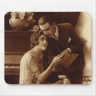 Vintage Romantic Music, Love and Romance Lovers Mouse Pad