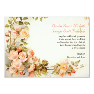 Vintage romantic painting of roses wedding card