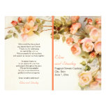 Vintage romantic painting of roses wedding program 21.5 cm x 28 cm flyer