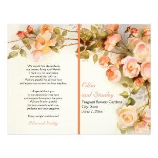 "Vintage romantic painting of roses wedding program 8.5"" x 11"" flyer"
