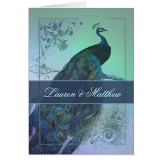 Vintage romantic peacock design greeting card