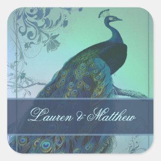 Vintage romantic peacock design stickers