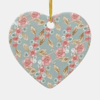 Vintage, romantic pink roses flowers ceramic heart decoration