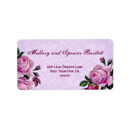Vintage Romantic Pink Roses Wedding Ver 002 Label
