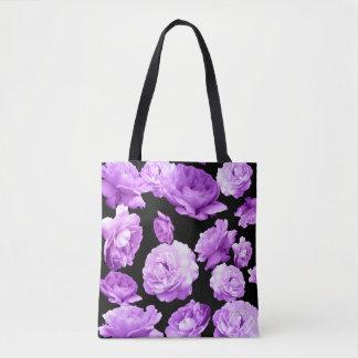 Vintage Romantic Purple Roses Floral Tote Bag