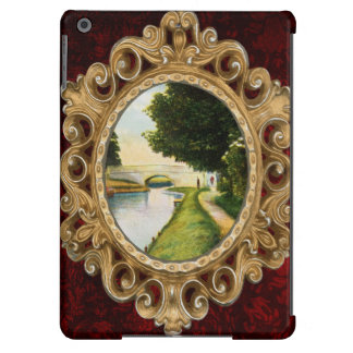 Vintage Romantic River and Bridge Illustration Cover For iPad Air