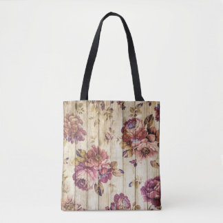 Vintage Romantic Roses on Wood Tote Bag