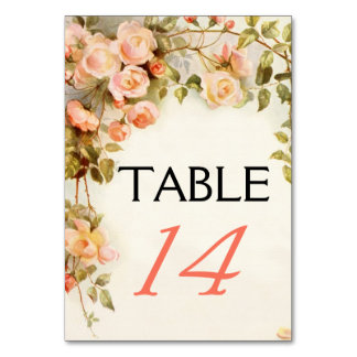 Vintage romantic roses wedding table number table cards