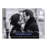 Vintage Romantic Script (Navy) Photo Save the Date 13 Cm X 18 Cm Invitation Card