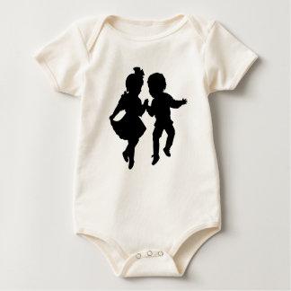 Vintage romantic silhouette boy and girl dancing baby bodysuit