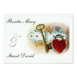 Vintage Romantic Wedding Heart Lock and Key Card