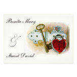 Vintage Romantic Wedding Heart Lock and Key Personalized Invitations