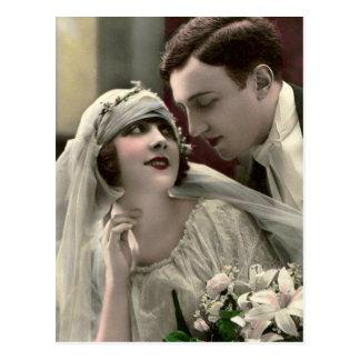 Vintage Romantic Wedding Postcard