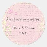 Vintage Romantic with Bible Verse Round Sticker