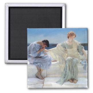 Vintage Romanticism, Ask Me No More by Alma Tadema Square Magnet