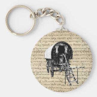 Vintage Romany Gypsy wagon Basic Round Button Key Ring
