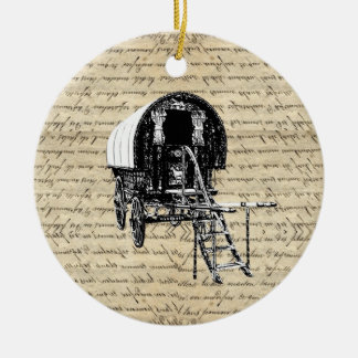 Vintage romany gypsy wagon christmas ornament