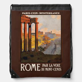 Vintage Rome Italy backbag Drawstring Bag