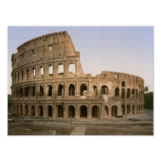Vintage Rome, Italy, Colosseum amphitheatre Poster