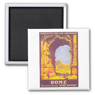 Vintage Rome Travel Poster Square Magnet