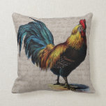 Vintage Rooster and Antique Text Collage - Custom Pillow