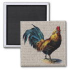 Vintage Rooster and Antique Text Collage - Custom Magnet