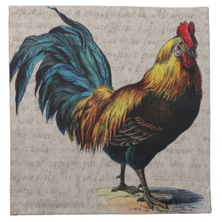 Vintage Rooster and Antique Text Collage - Custom Napkin