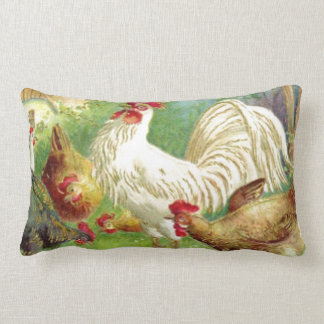 Vintage Rooster and Chickens Lumbar Cushion