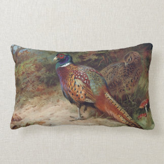 Vintage Rooster and Hen Pheasant Lumbar Cushion