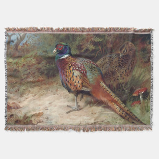 Vintage Rooster and Hen Pheasant Throw Blanket