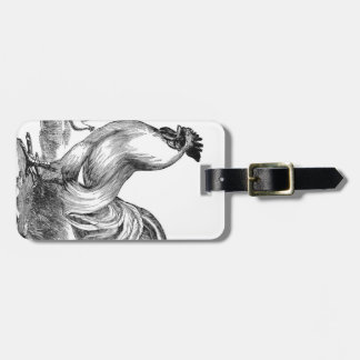 Vintage rooster illustration luggage tag