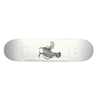 Vintage rooster jagged drawing png skateboard
