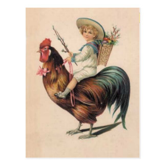 Vintage Rooster Ride Postcard