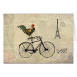 Vintage Rooster Riding a Bike by the Eiffel Tower Greeting Card